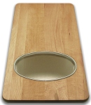 Wood Cutting Board with Stainless Strainer